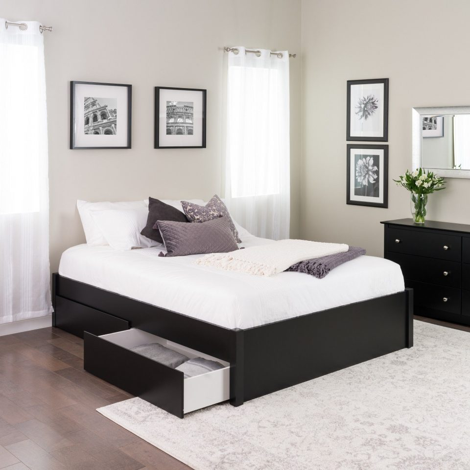 platform bed with 2 drawers black