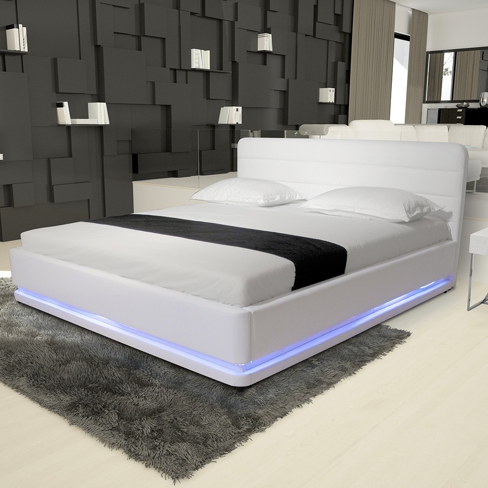 pu leather bedroom furniture frame beds rgb led light