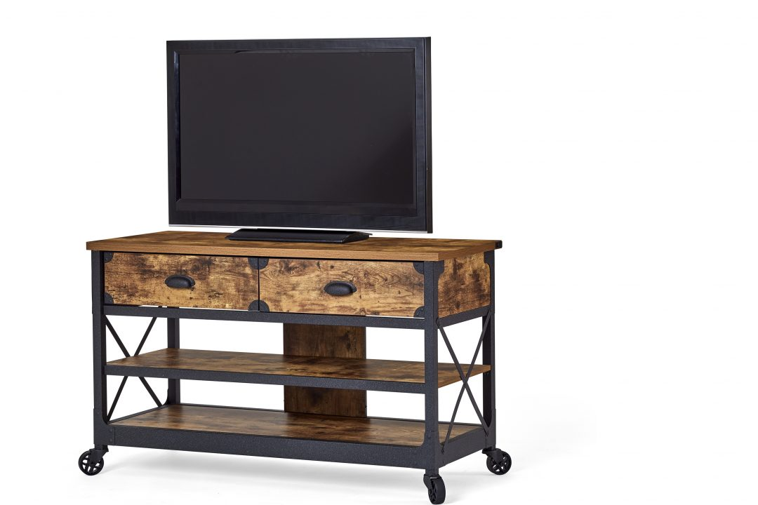 rustic country tv stand on wheels