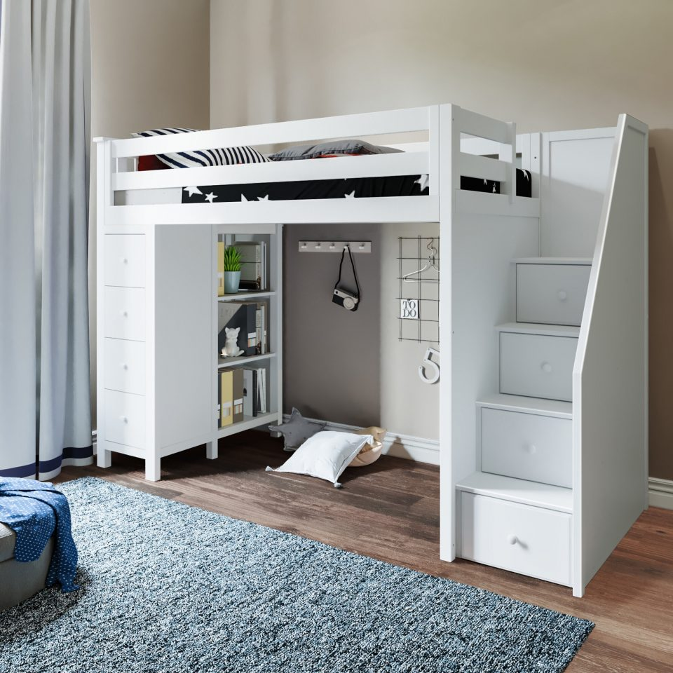 small twin loft bed with stairs