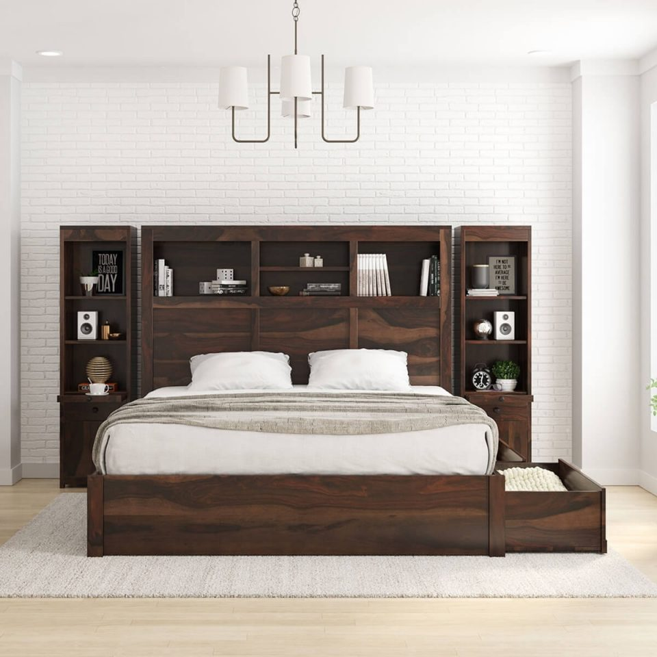 solid wood storage platform bed with bookcase headboard