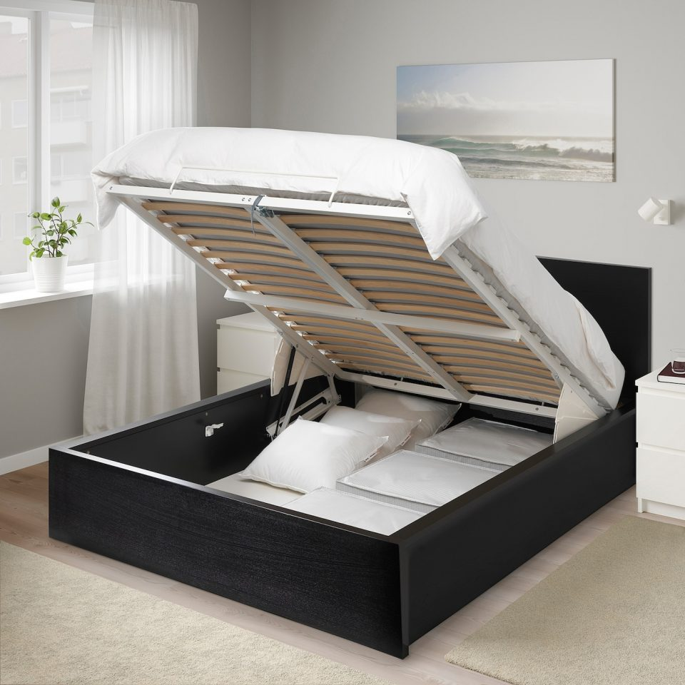 storage bed black queen