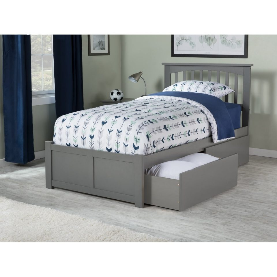 twin platform bed with flat panel foot board drawers