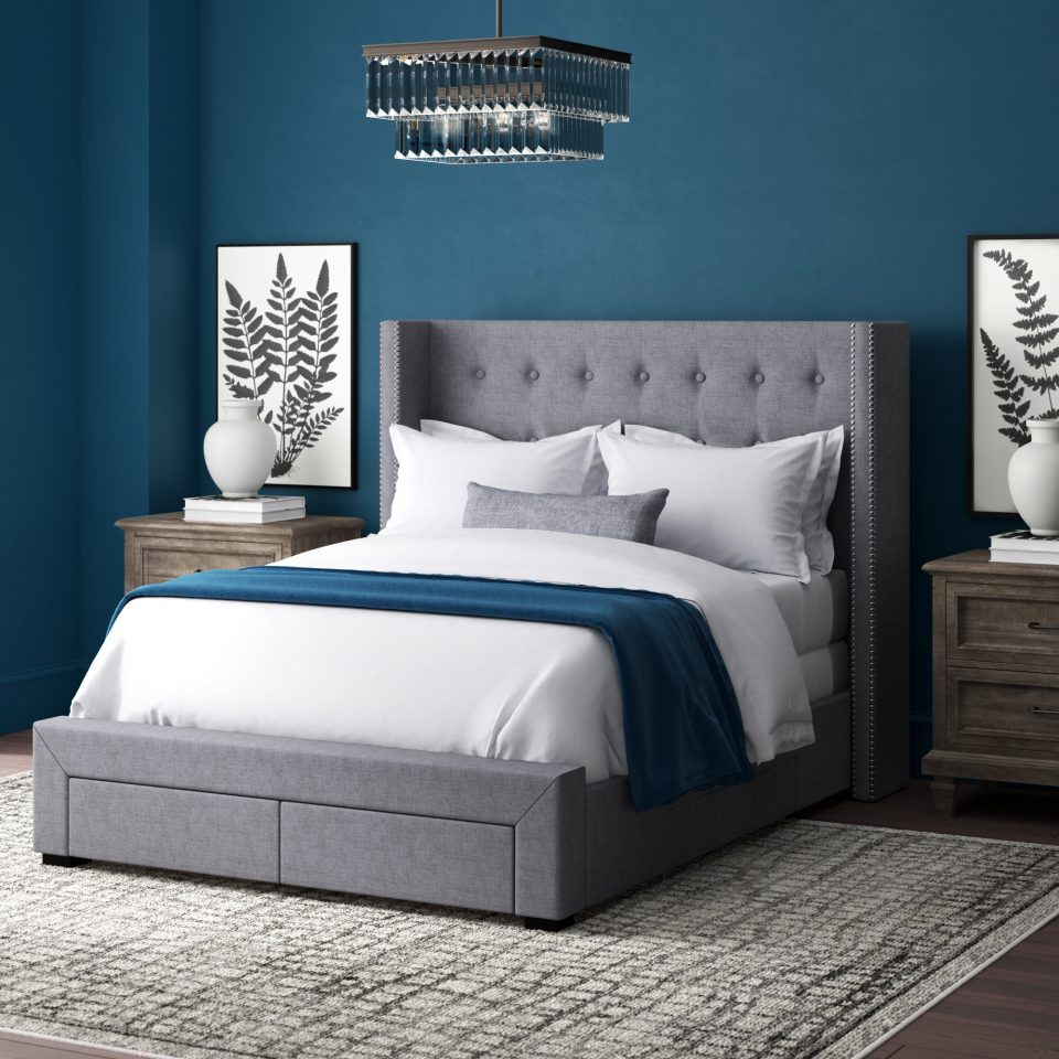 upholstered storage standard bed