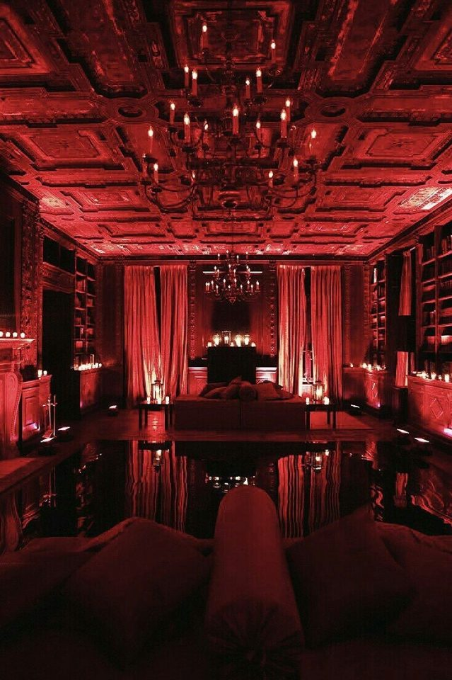 vampire red bedroom interior