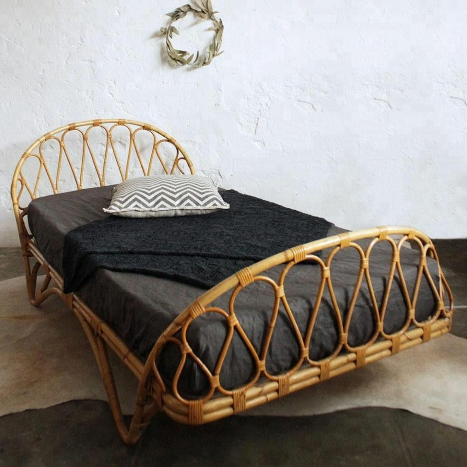 Vintage Rattan Day Bed Handcrafted