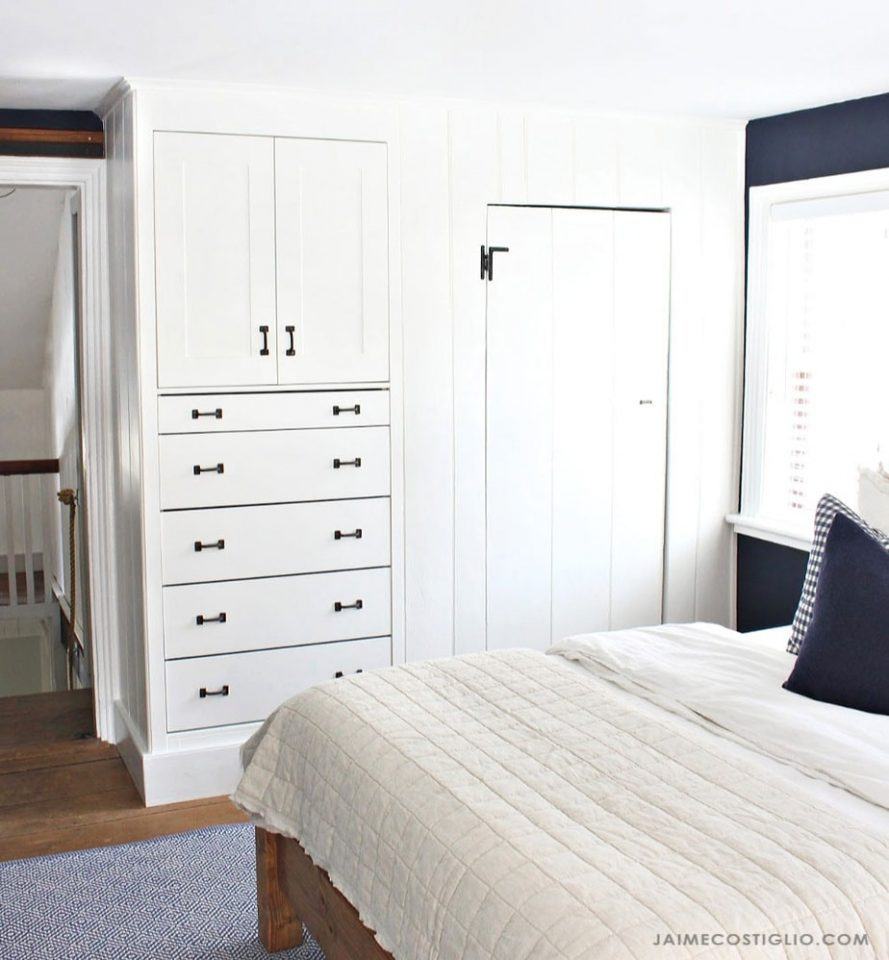 white bedroom built ins with storage