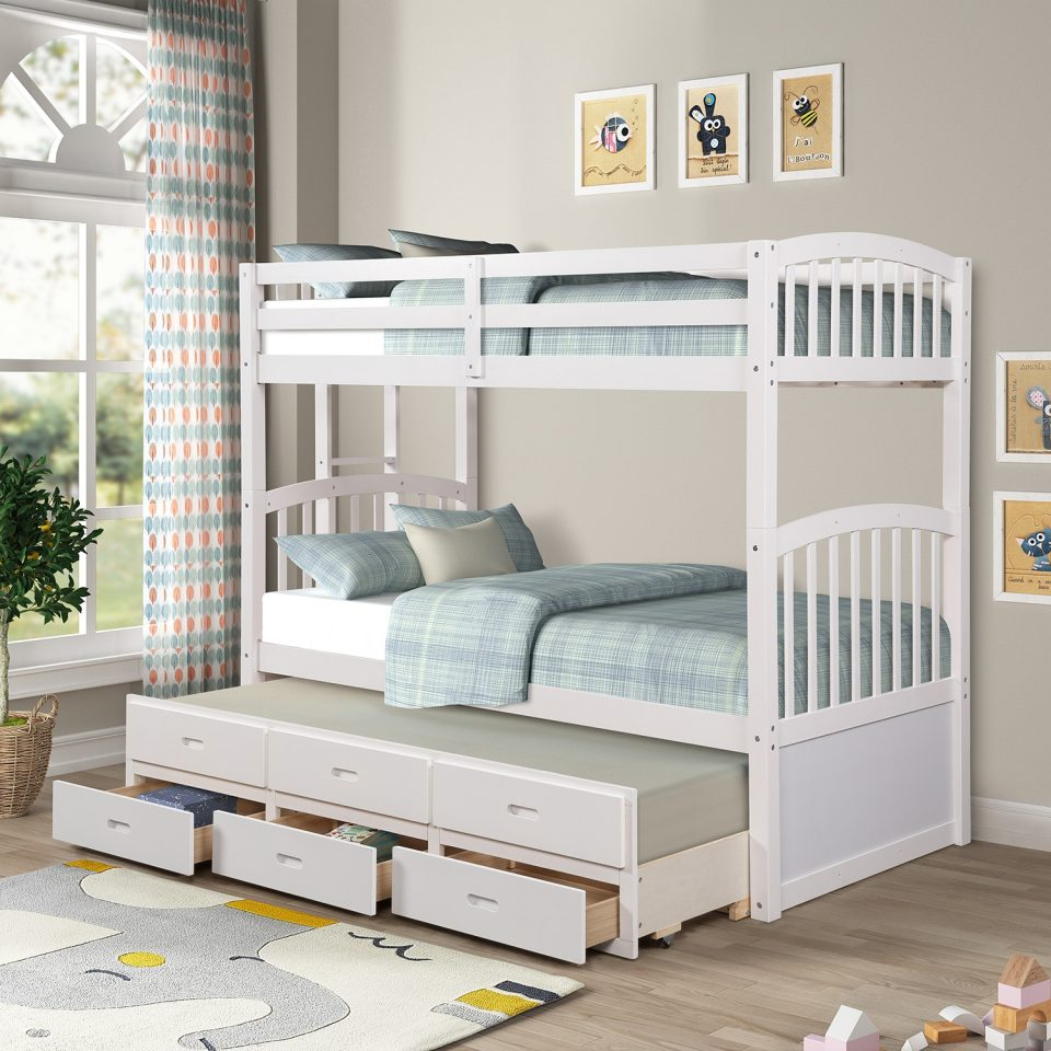wood twin over twin girls bunk beds trundle storage drawers