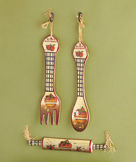 3 pc kitchen wall decor rooster apple country utensil