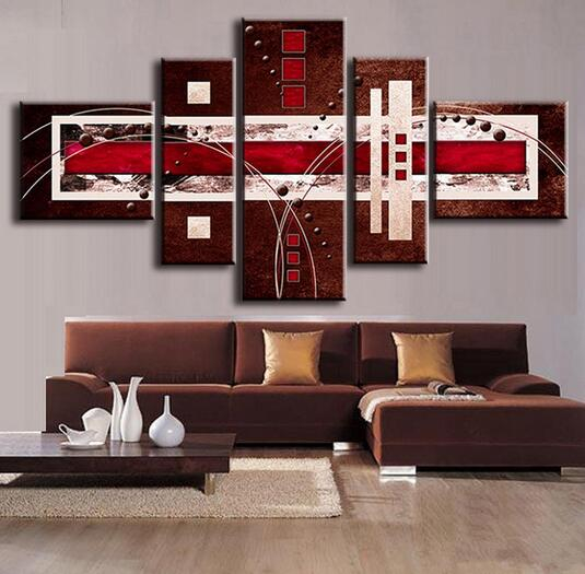 abstract oil painting brown red cream canvas modern home