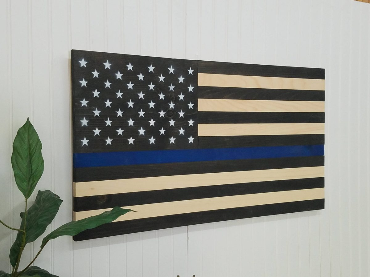 american flag thin blue line theme wooden wall mount art