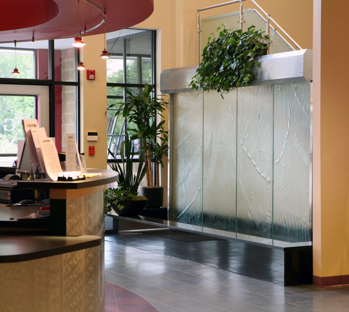 art glass reception water wall gallery water structures