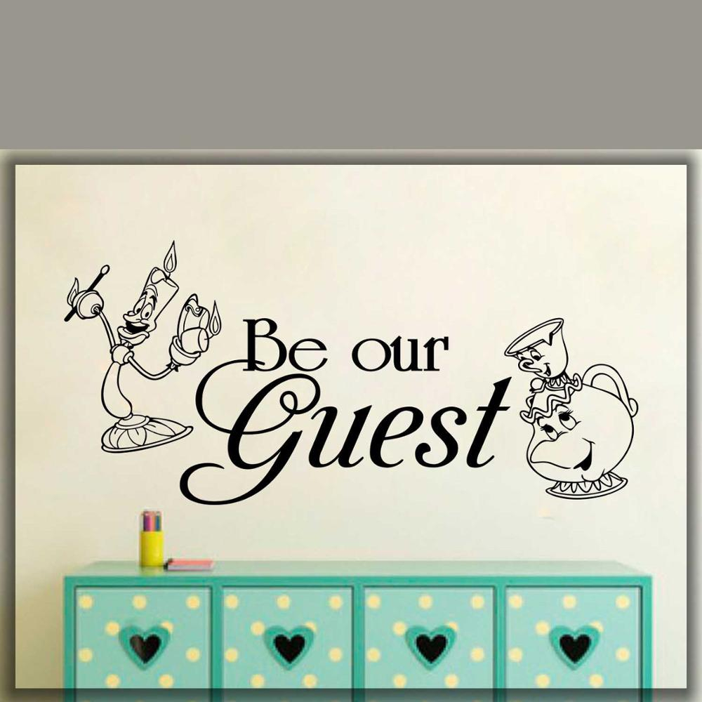 be our guest wall decal beauty the beast home art decal