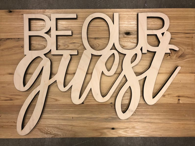 be our guest wood cut wall art sign decor guest bedroom