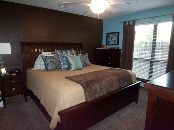 bluebrown master bedroom like the accent wall but in a