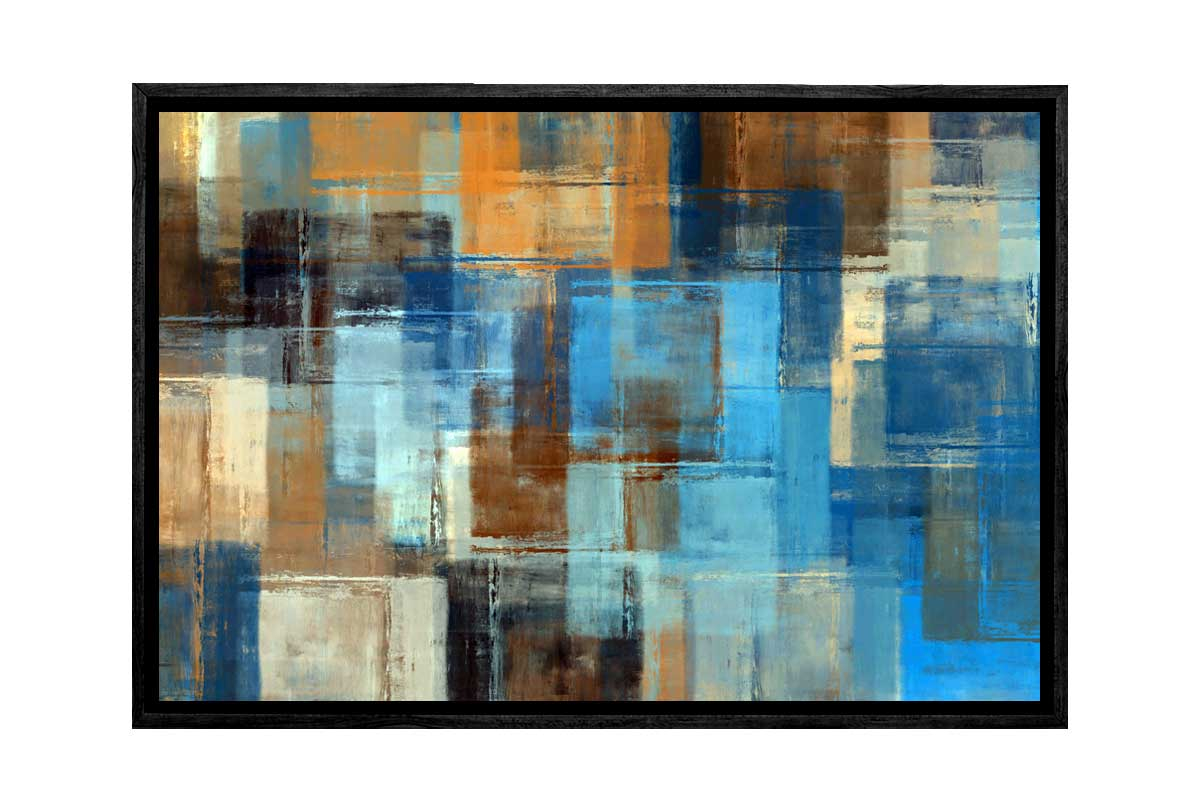 buy brown and blue abstract canvas wall art print online
