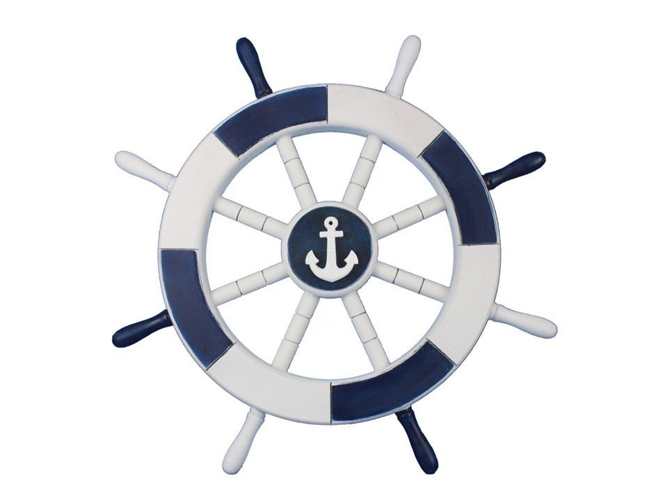 buy dark blue and white decorative ship wheel with anchor