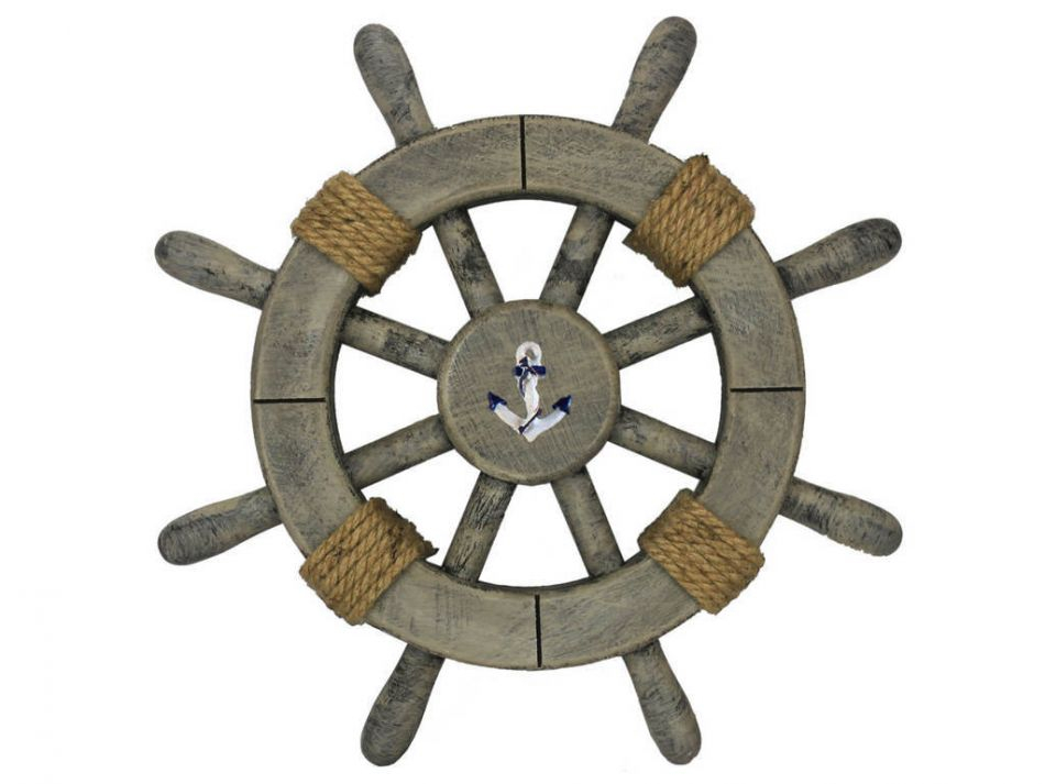 buy rustic decorative ship wheel with anchor 12in