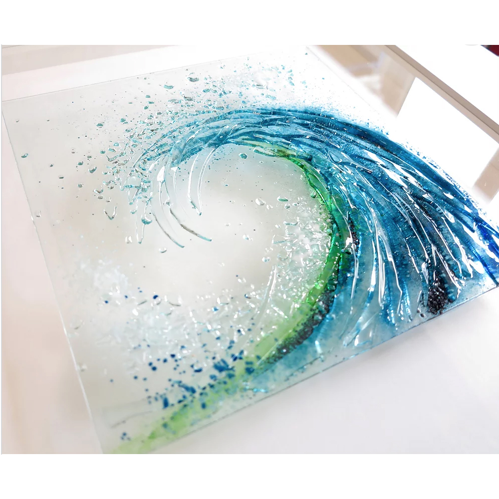 contemporary glass wall art i large breaking wave