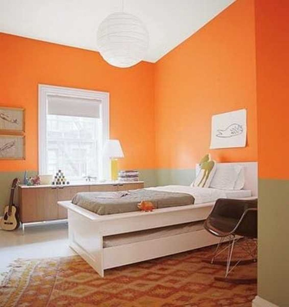 decorations orange and green wall color for bright