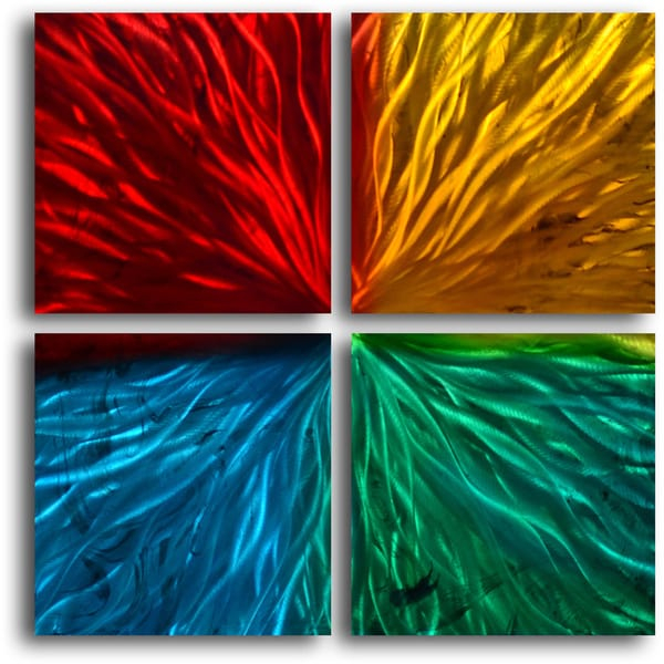 four square colored ripples metal wall art free