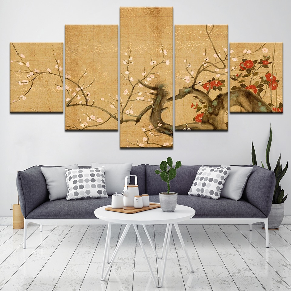 framed 5pcs red plum blossom flowers wall pictures for
