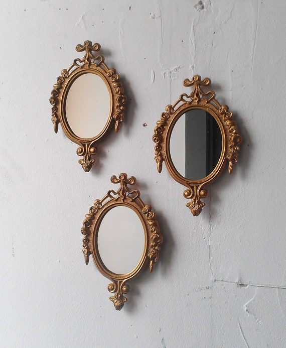 gold framed mirror set of three in small ornate vintage frames