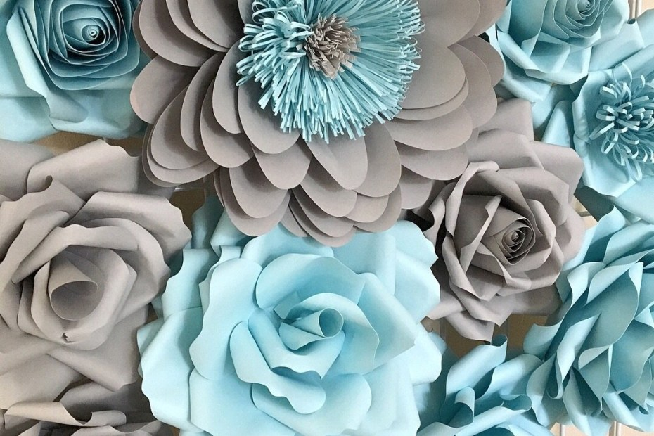 gray and blue paper flower wall decor in stock paper