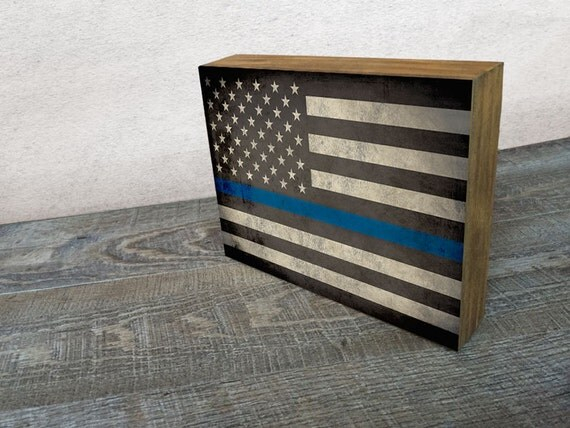 items similar to thin blue line flag art mounted print