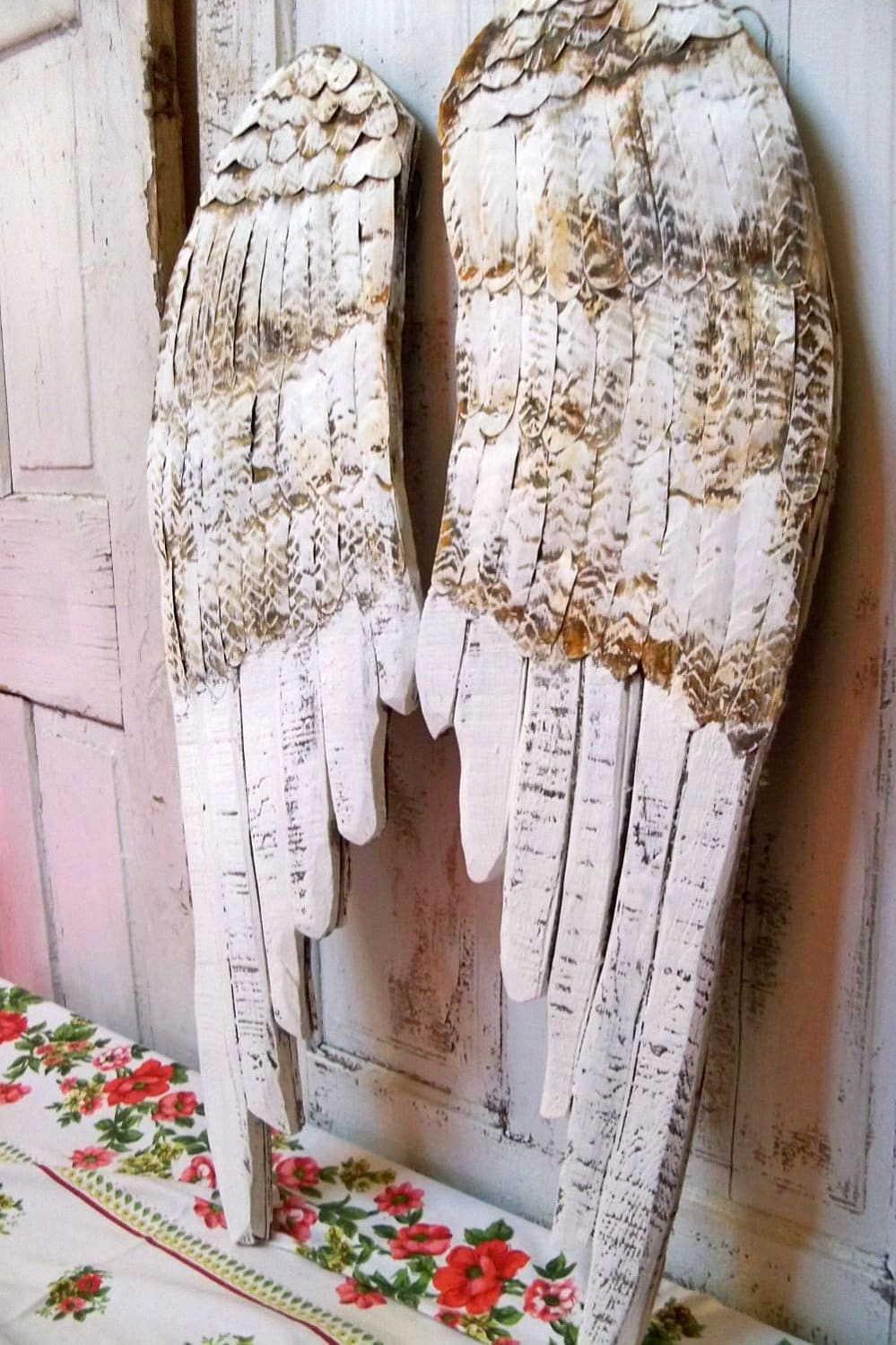 large wooden wings white angel wall sculpture hand painted