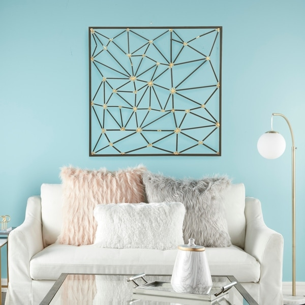 modern style large square abstract art metallic gold