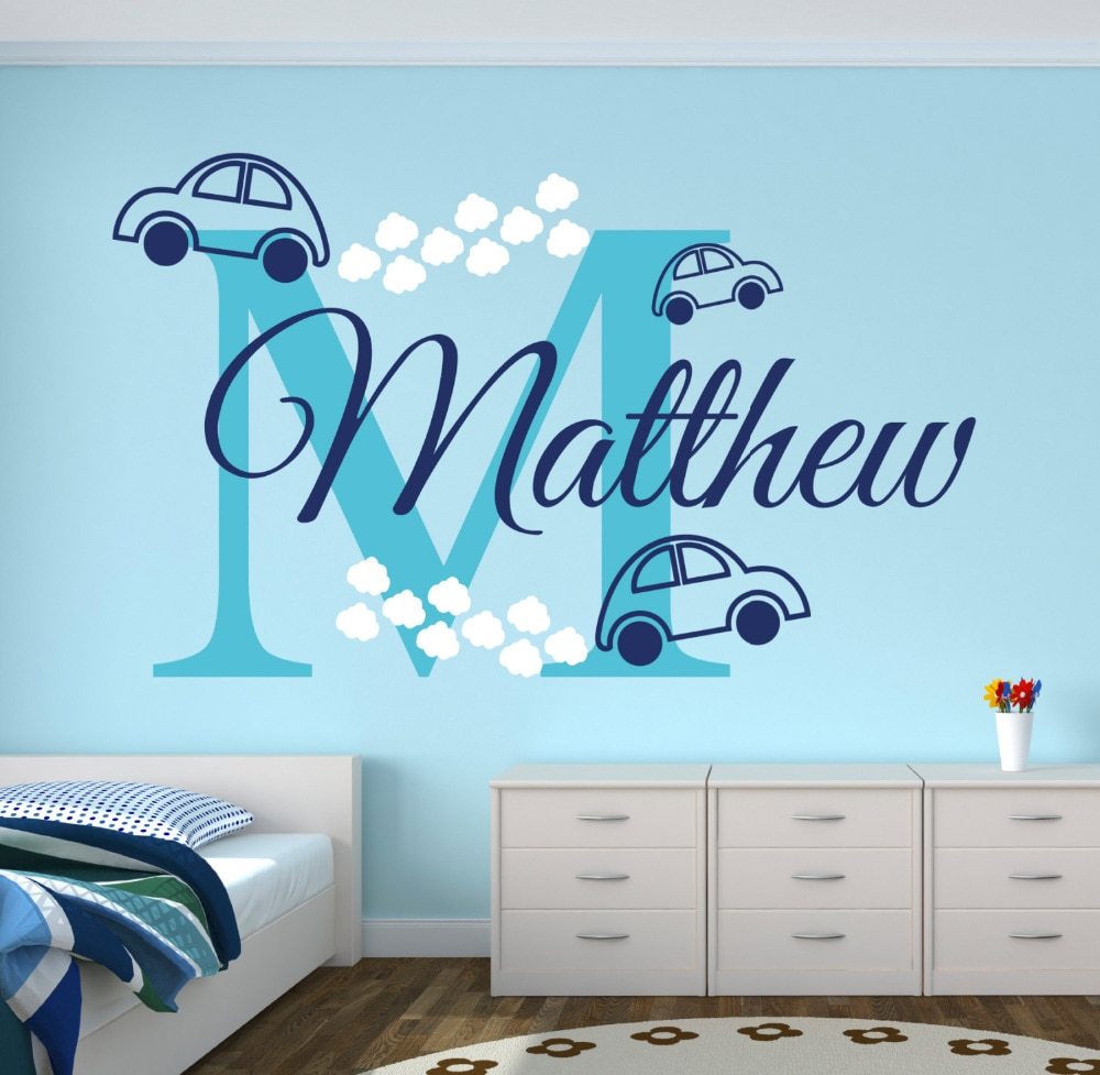 personalized name cars wall stickers for boys bedroom