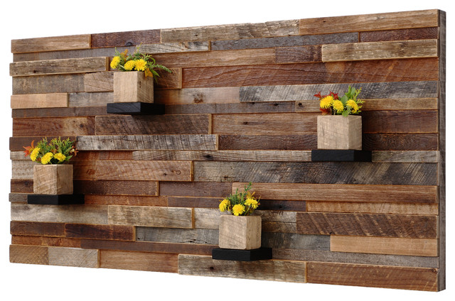 reclaimed barn wood wall art with shelves 4x2 rustic
