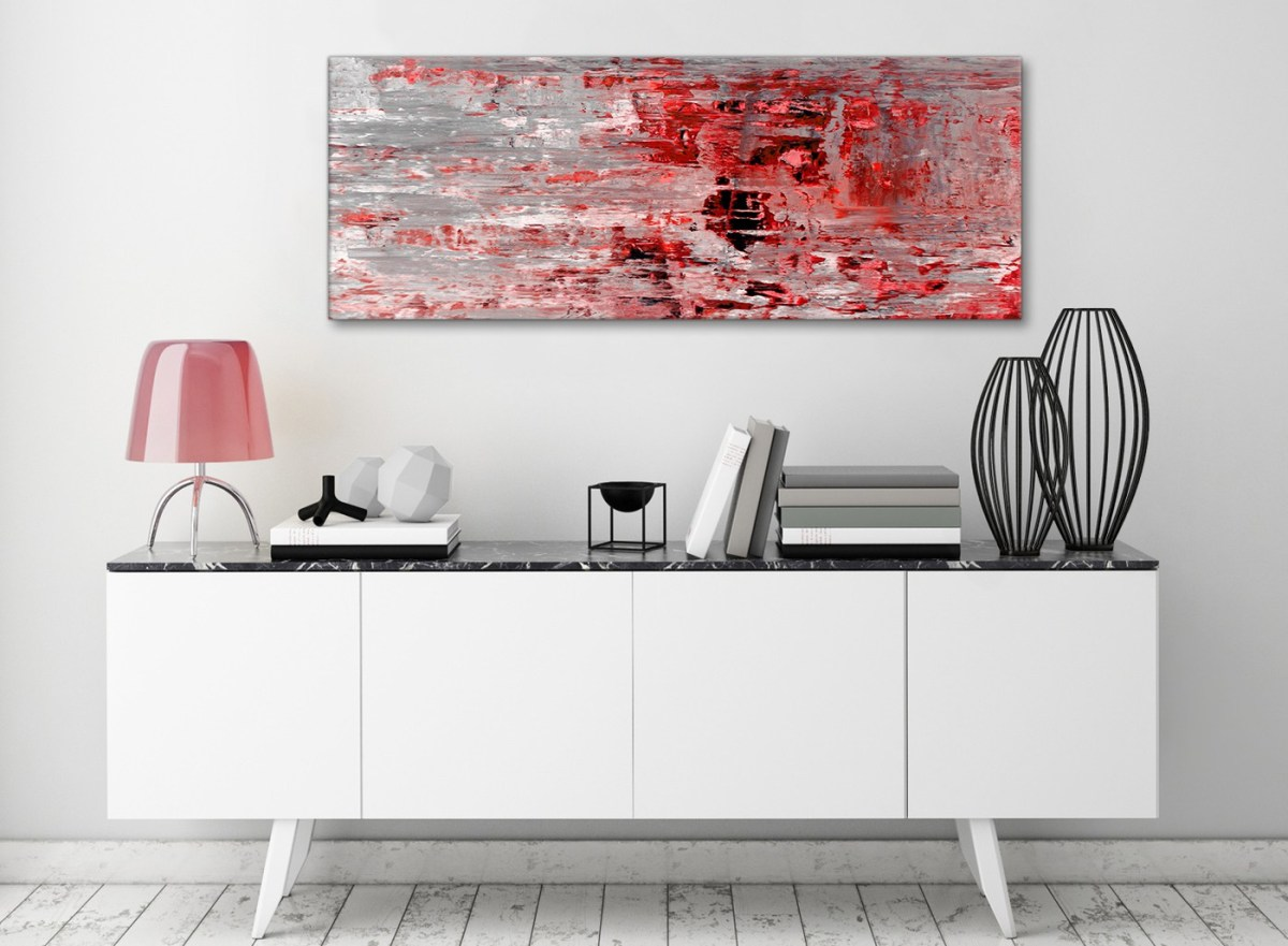 red grey painting living room canvas wall art accessories