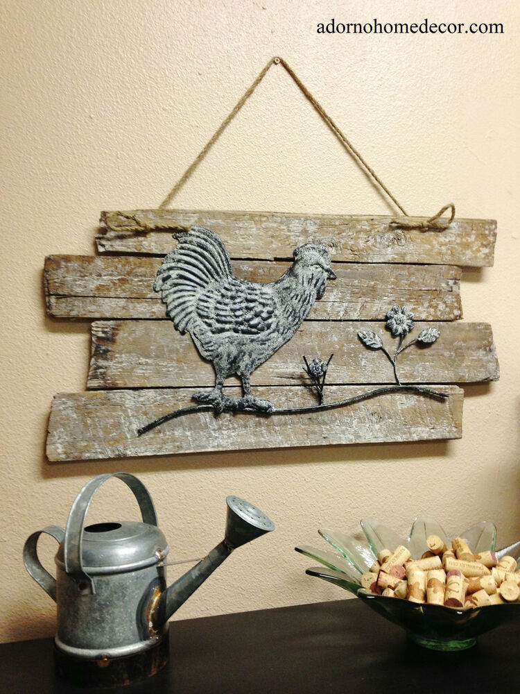 rustic wood rooster wall decor white distressed shab