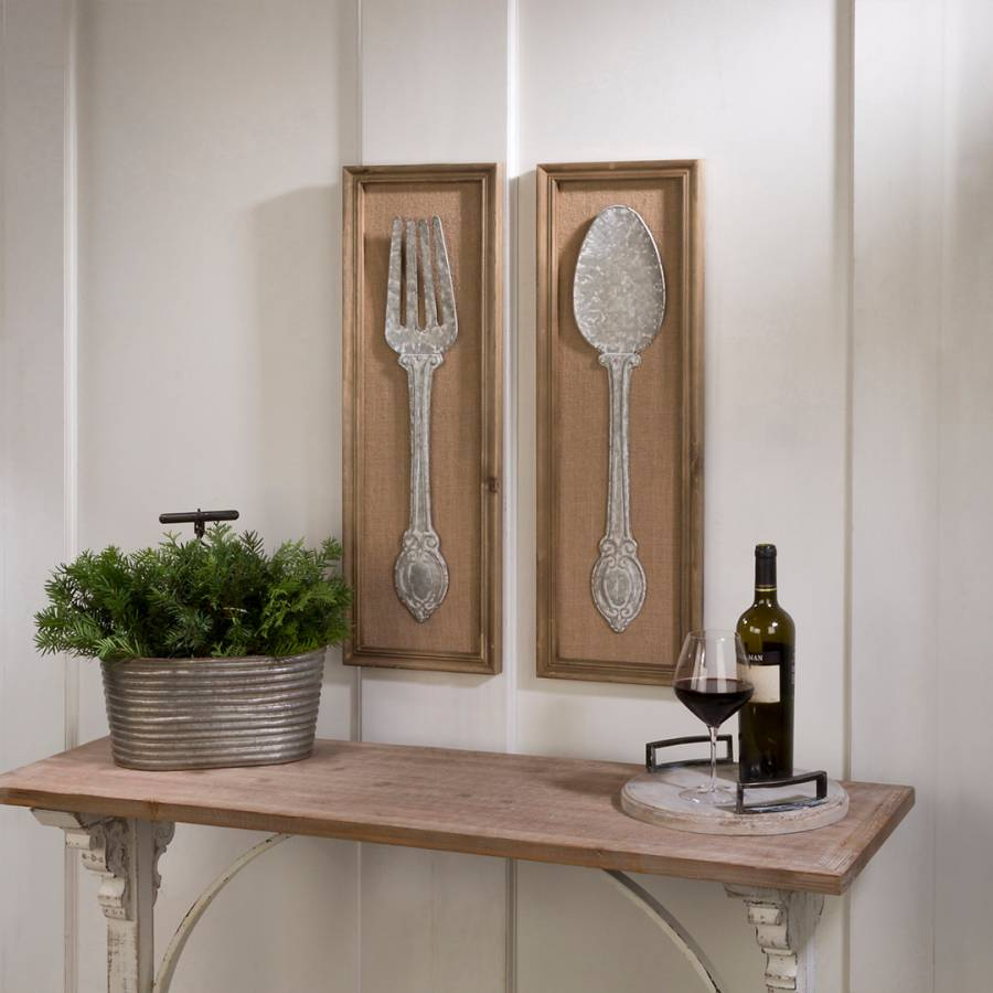 set of 2 spoon and fork wall art brandalley