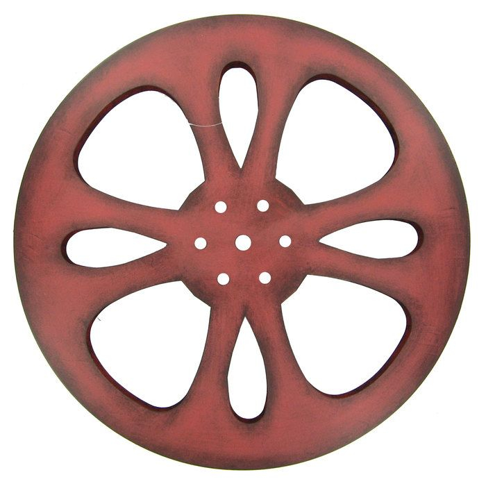small red metal movie reel home theater decor metal