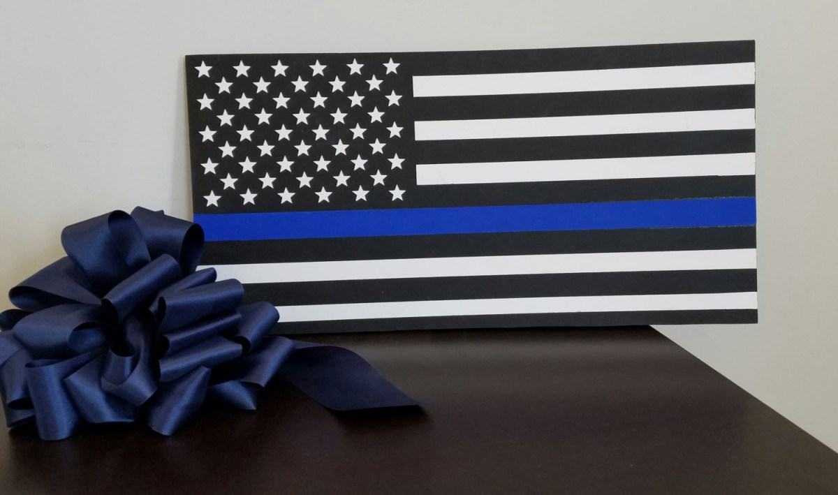 thin blue line flag police officer wood wall plaque wall decor