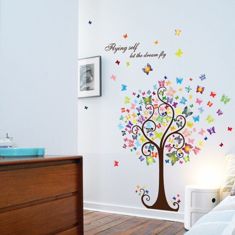 tree colorful butterflies wall stickers decals living room