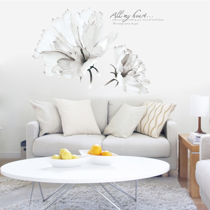 two large white flowers wall stickers women salon bedroom
