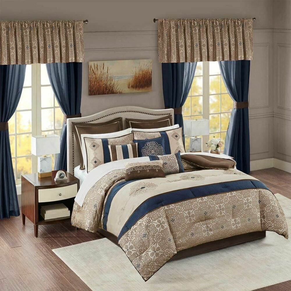 24pc navy blue brown embroidered comforter set sheets