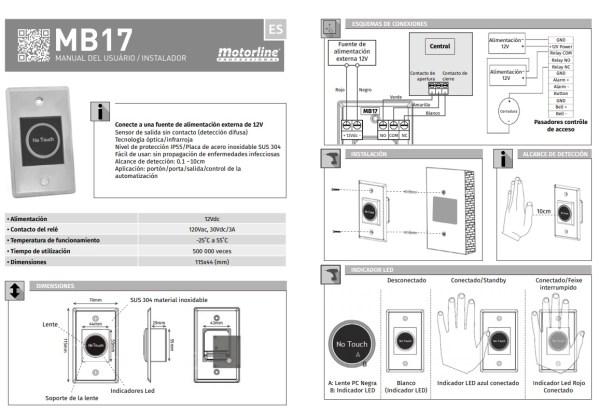 Sensor apertura sin contacto MB17 acero inoxidable