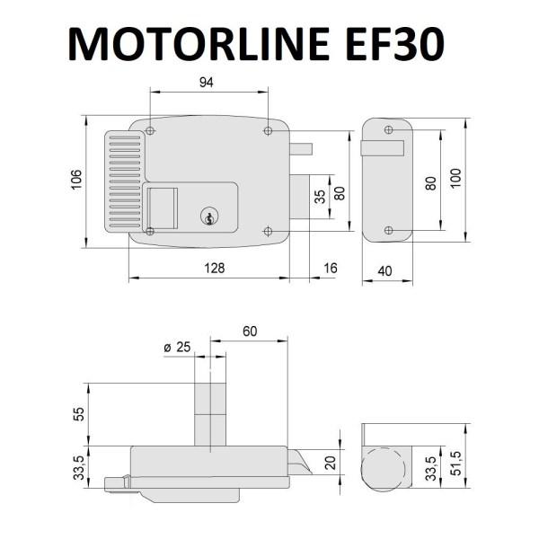 Cerradura eléctrica Motorline EF30 Derecha