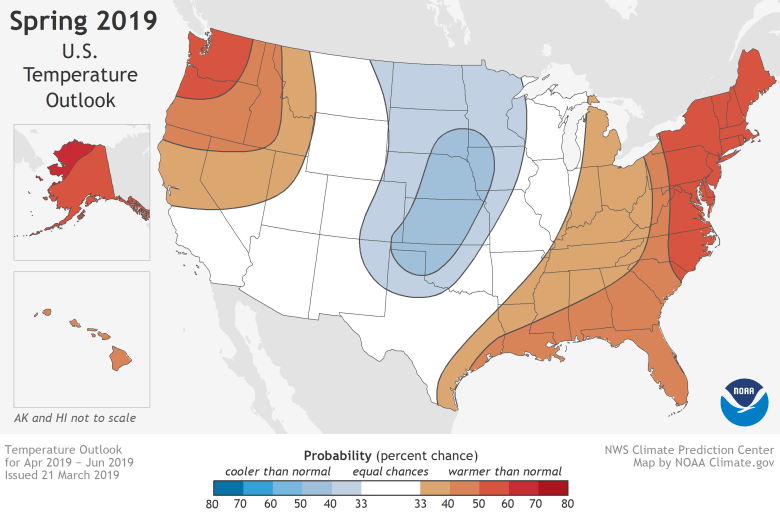U.S. map with Alaska and Hawaii inset showing the temperature outlook for April-June 2019