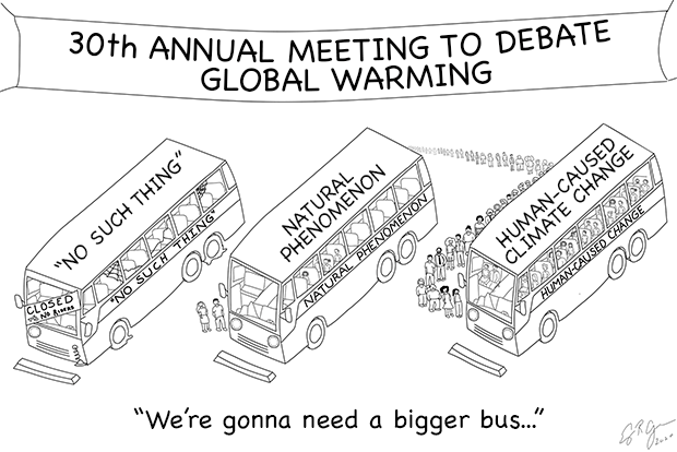 "Black and white comic of three buses loading riders to a scientific conference. The bus labelled ""human-caused warming"" is full, with a line stretching off the edge of the image."