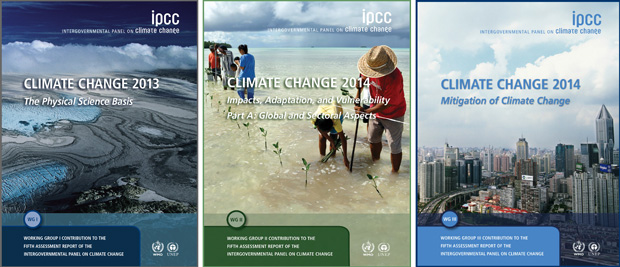 Trio of report covers for the three IPCC Fifth Assessment reports