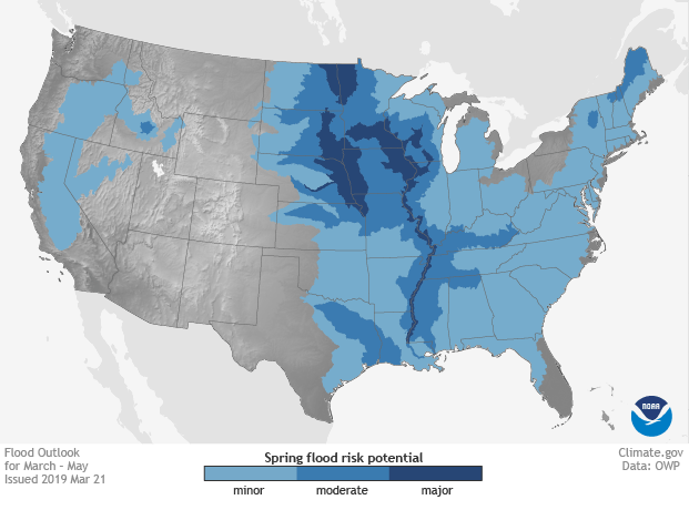 CONUS map showing areas projected to experience minor, moderate, and major flooding in different shades of blue