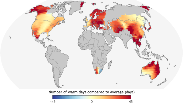 global map of extreme heat in 2016