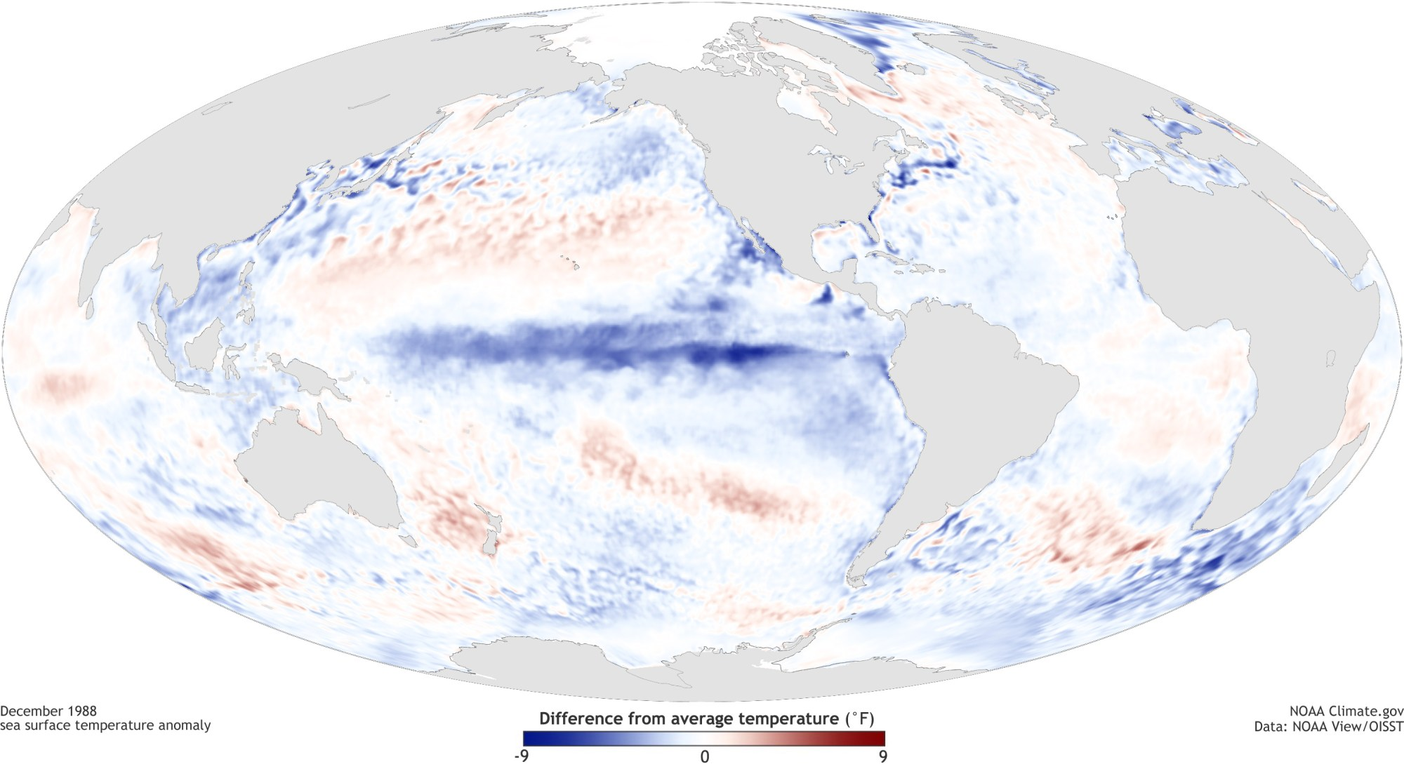 hight resolution of  pacific ocean during a strong la ni a top december 1988 and el ni o bottom december 1997 maps by noaa climate gov based on data provided by noaa