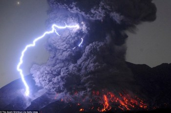 Fig. 1. The eruption of Japan's Mount Sakurajima on July 25, 2016, creates its own weather system as it spews chemically charged ash high into earth's atmosphere.